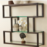unique open frame shelving with vases and other knick knacks on it
