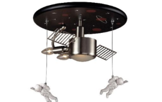 astronaut three-light flush mount fixture