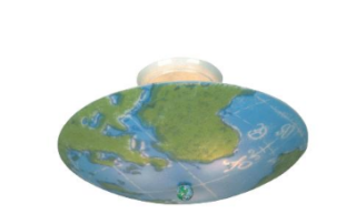 kidshine world map three-light semi-flush mount fixture