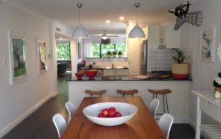 kitchen with pendant lights grouped over island
