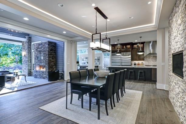 Dining Room With Modern Rectangular, Rectangular Chandelier Dining Room